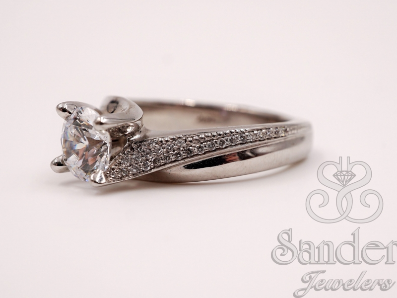 Bridal Jewelry - Swirl Engagement Ring  - image #2
