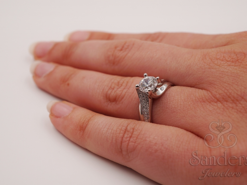 Bridal Jewelry - Swirl Engagement Ring  - image #4
