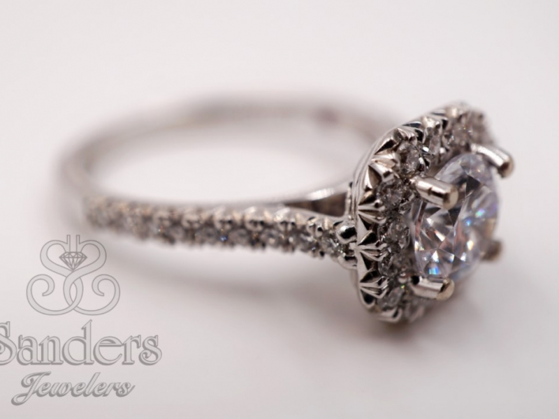 Bridal Jewelry - Cut Corner Halo French Pave Set Engagement Ring - image #2