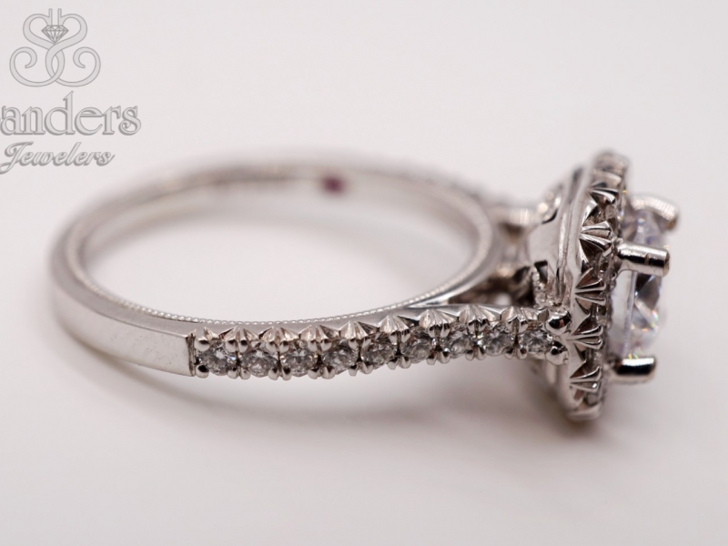 Bridal Jewelry - Cut Corner Halo French Pave Set Engagement Ring - image #3