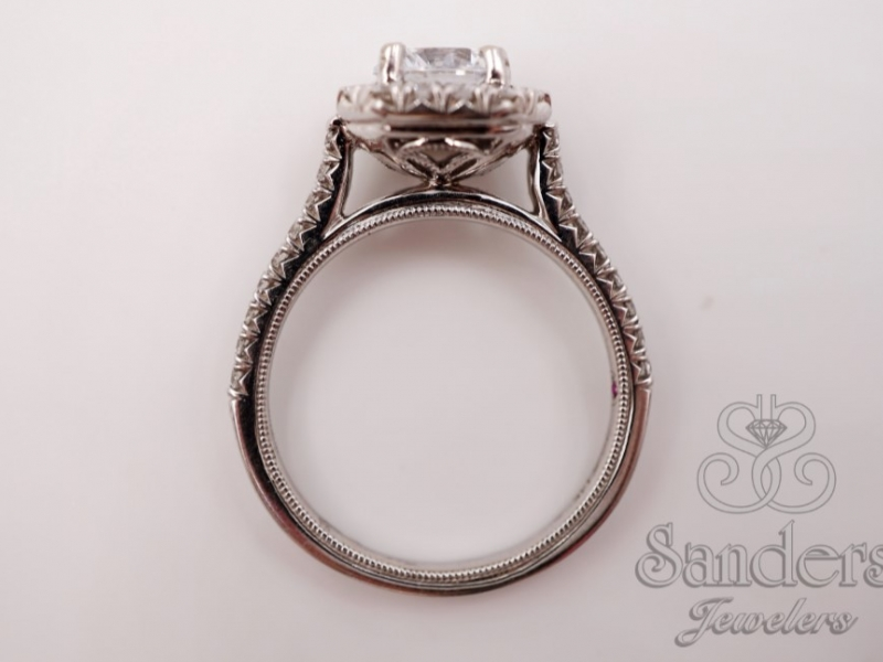 Bridal Jewelry - Cut Corner Halo French Pave Set Engagement Ring - image #4