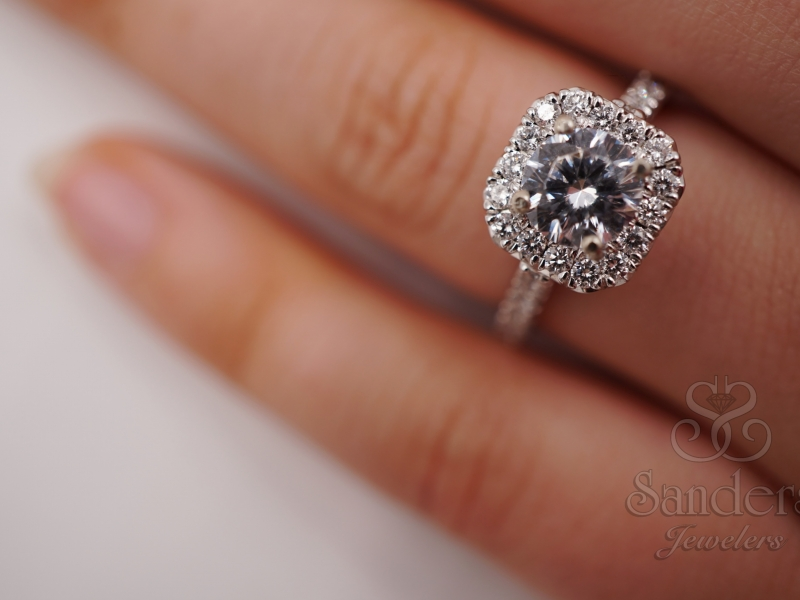 Bridal Jewelry - Cut Corner Halo French Pave Set Engagement Ring - image #5