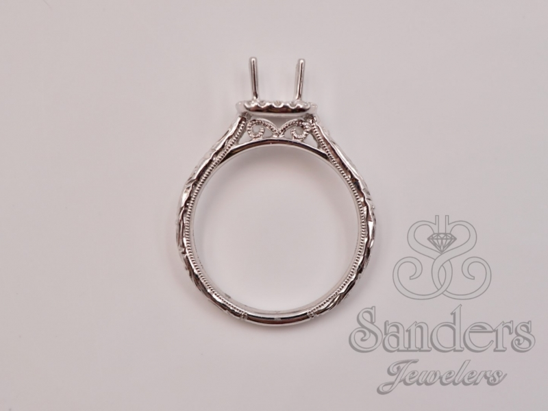 Bridal Jewelry - Cushion Halo Engraved Engagement Ring - image #4