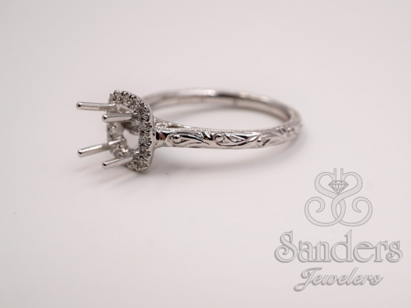 Bridal Jewelry - Cushion Halo Engraved Engagement Ring - image #2