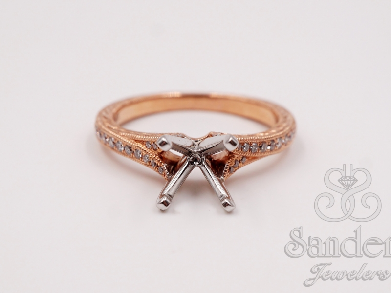 Bridal Jewelry - Vintage Inspired Engraved Engagement Ring - image #2