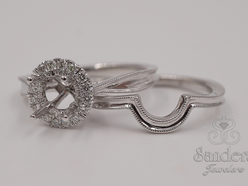 Bridal Jewelry - Round Halo Diamond Engagement Ring - image #3