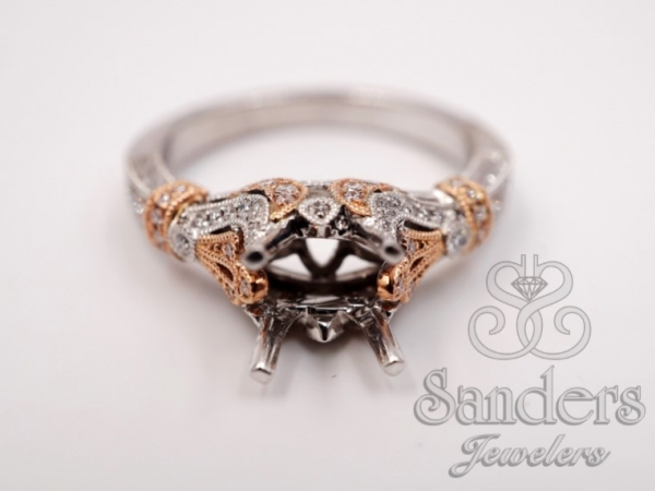 Bridal Jewelry - Two-Tone Vintage Inspired Engagement Ring