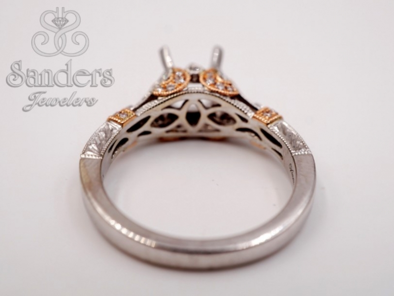 Bridal Jewelry - Two-Tone Vintage Inspired Engagement Ring - image #3