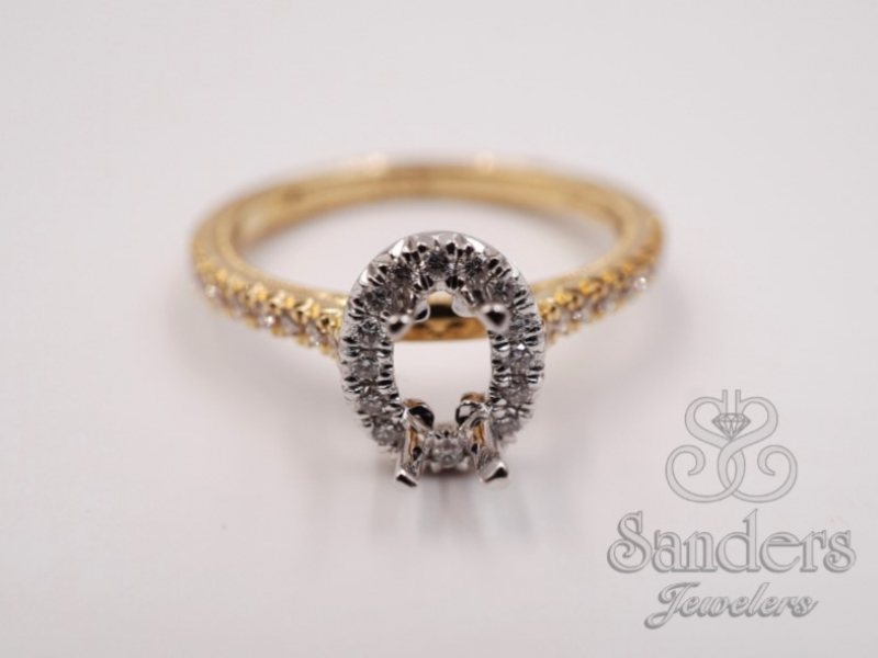 Bridal Jewelry - Two-Tone Oval Halo Engagement Ring - image #3