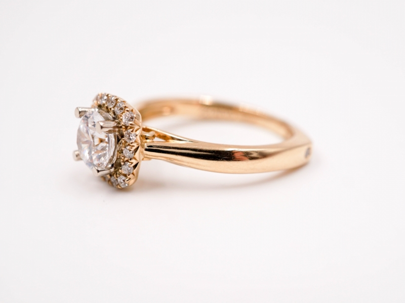 Bridal Jewelry - Cushion Halo Diamond Engagement Ring  - image #2