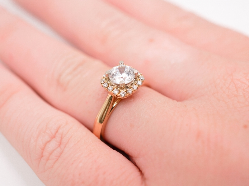 Bridal Jewelry - Cushion Halo Diamond Engagement Ring  - image #4