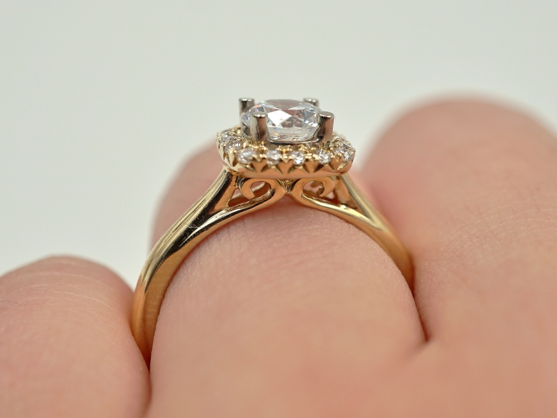 Bridal Jewelry - Cushion Halo Diamond Engagement Ring  - image #5