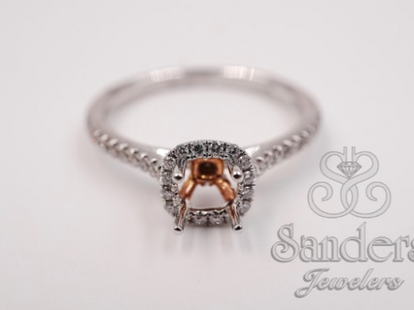 Bridal Jewelry - Two-Tone Cushion Halo Engagement Ring