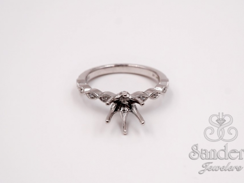 Bridal Jewelry - Diamond Station Engagement Ring - image #2