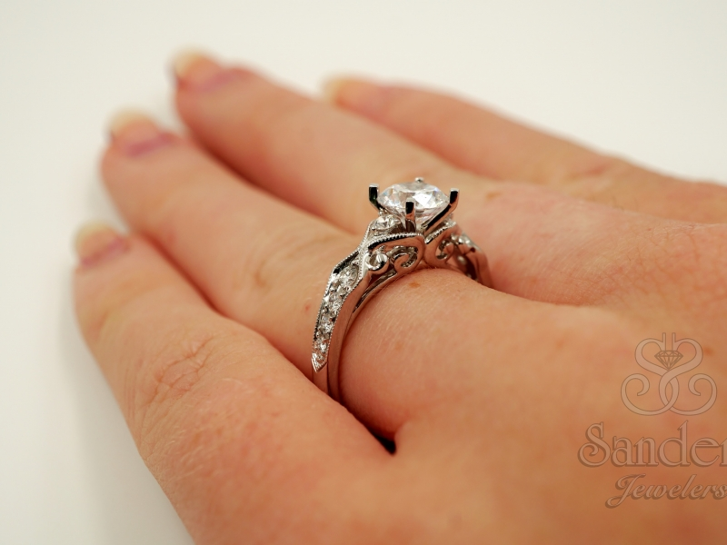 Bridal Jewelry - Vintage Inspired Engagement Ring - image 5