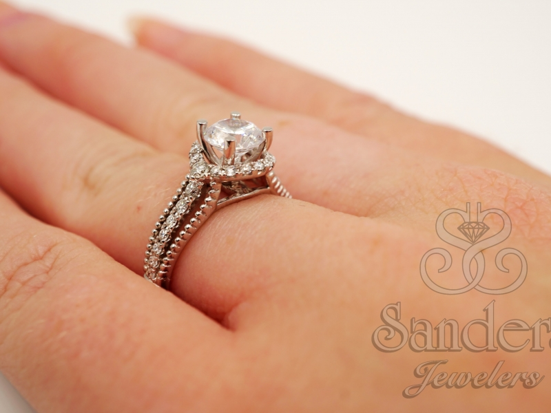 Bridal Jewelry - Diamond Halo Engagement Ring  - image #4