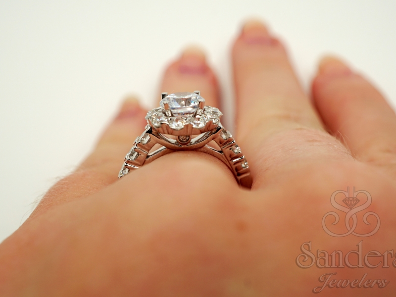 Bridal Jewelry - Scalloped Halo Engagement Ring  - image 5