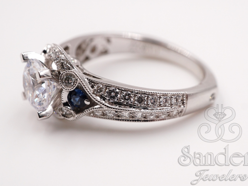 Bridal Jewelry - Diamond & Blue Sapphire Engagement Ring  - image #2