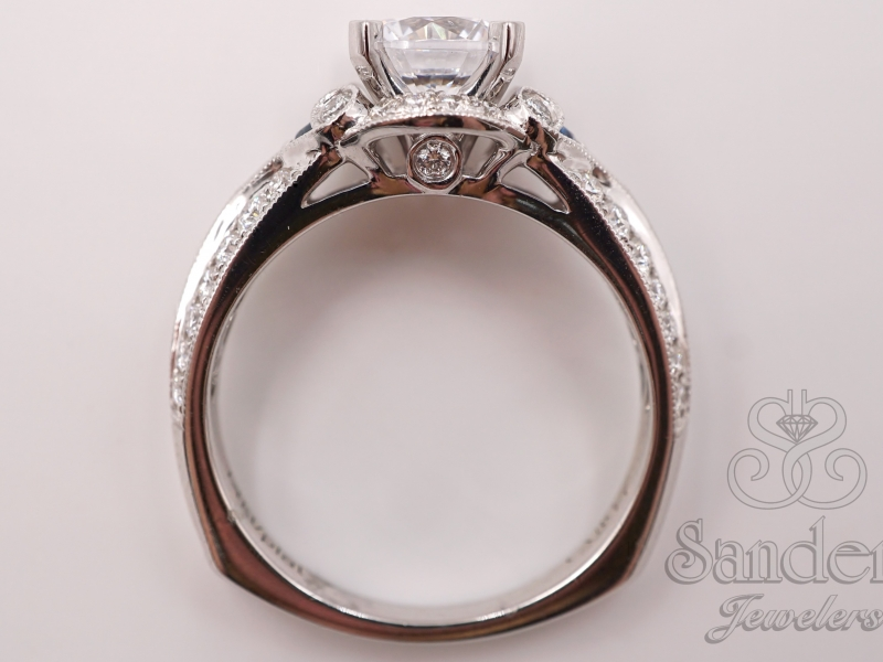 Bridal Jewelry - Diamond & Blue Sapphire Engagement Ring  - image #4