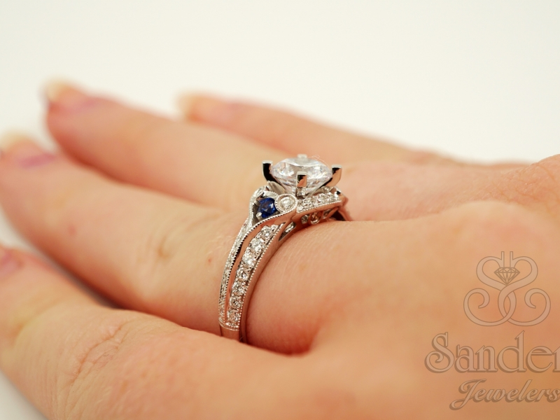Bridal Jewelry - Diamond & Blue Sapphire Engagement Ring  - image #5