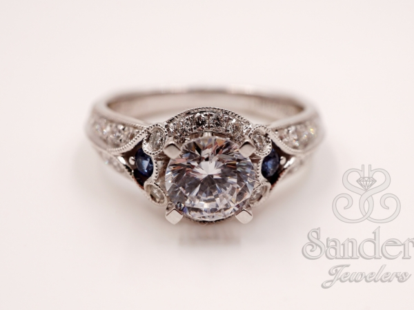 Bridal Jewelry - Diamond & Blue Sapphire Engagement Ring