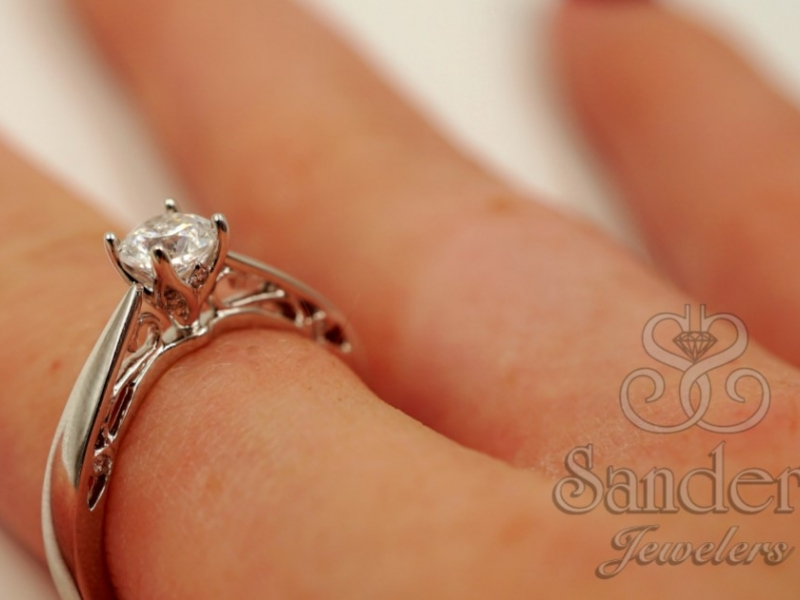 Bridal Jewelry - Solitaire Diamond Engagement Ring  - image #4
