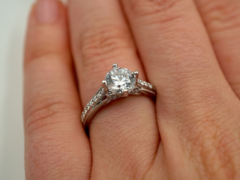 Bridal Jewelry - East to West Diamond Engagement Ring - image #4