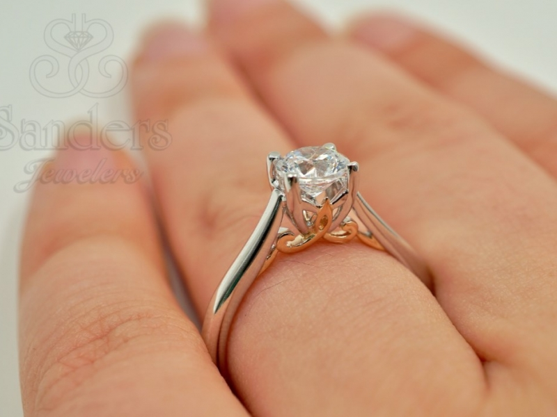 Bridal Jewelry - Two-Tone Solitaire Engagement Ring - image #5