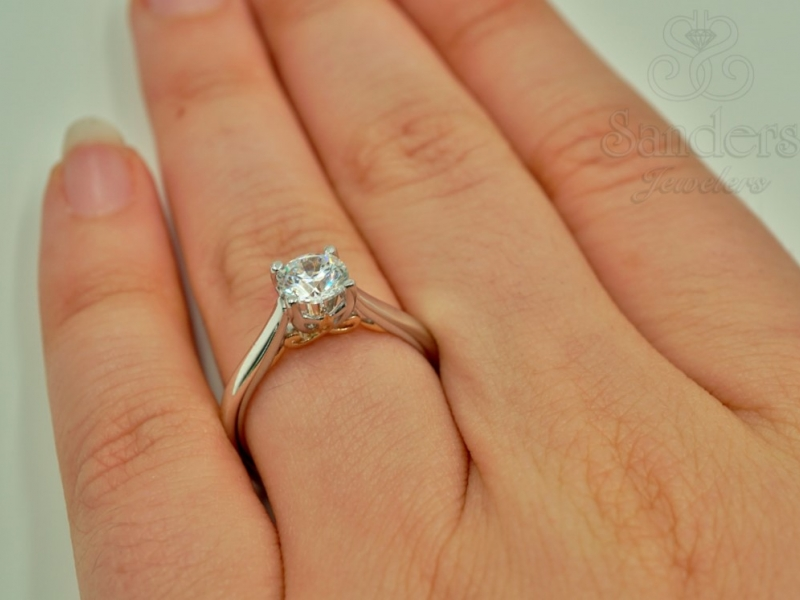 Engagement Rings - Two-Tone Solitaire Engagement Ring - image #4