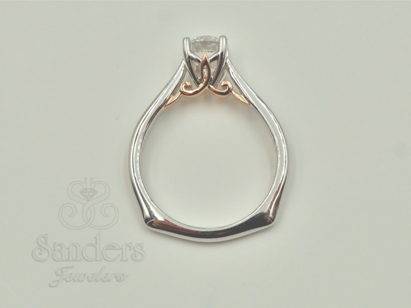 Bridal Jewelry - Two-Tone Solitaire Engagement Ring - image 3