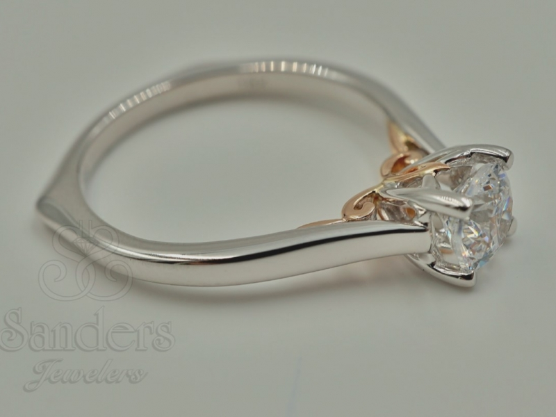 Bridal Jewelry - Two-Tone Solitaire Engagement Ring - image 2