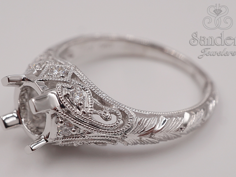 Bridal Jewelry - Vintage Style Engagement Ring - image #3