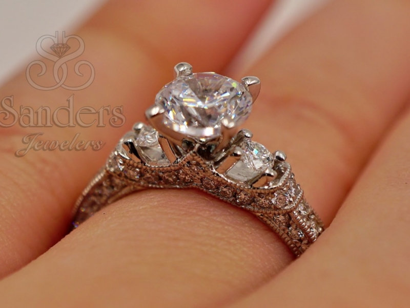 Bridal Jewelry - Vintage Inspired Engagement Ring - image 3