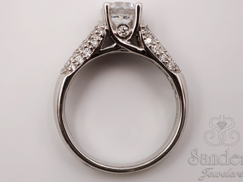 Bridal Jewelry - 14K White Gold Pave Semi Mount - image #3