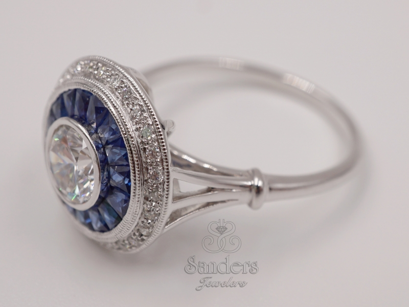 Rings - Diamond and Sapphire Semi-Mount Ring - image #2