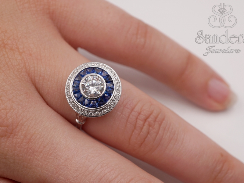 Rings - Diamond and Sapphire Semi-Mount Ring - image #4