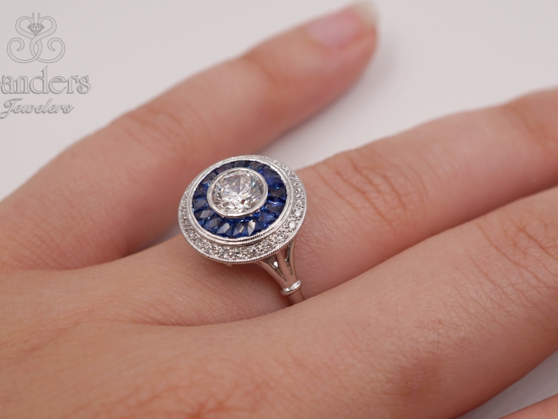 Rings - Diamond and Sapphire Semi-Mount Ring - image #3