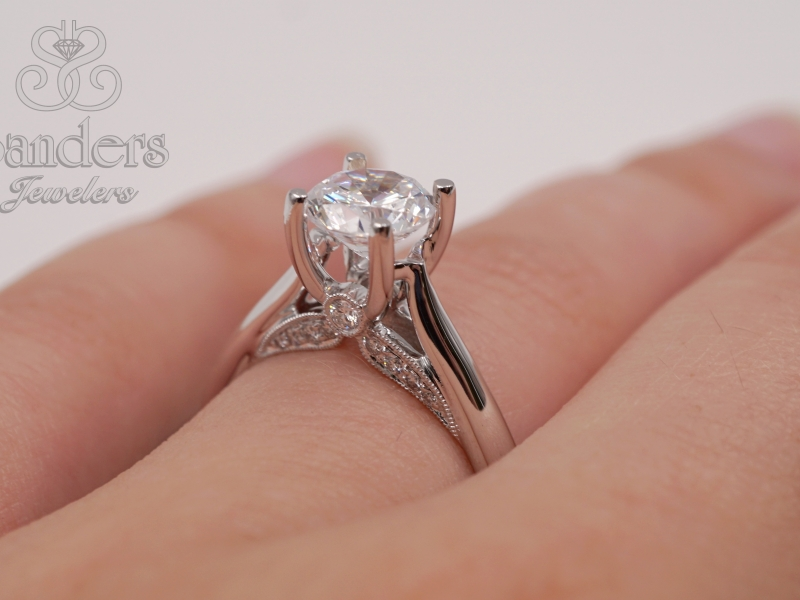 Bridal Jewelry - Diamond Accented Solitaire Engagement Ring - image #3