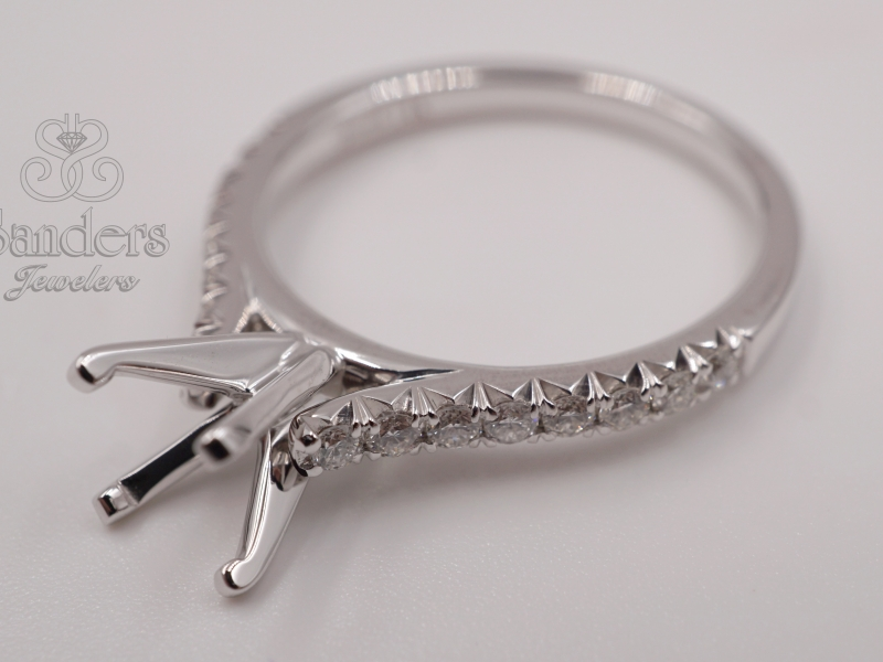 Bridal Jewelry - French Pave Diamond Engagement Ring - image #2