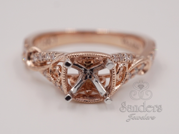 Bridal Jewelry - Rose Gold Swirl Engagement Ring