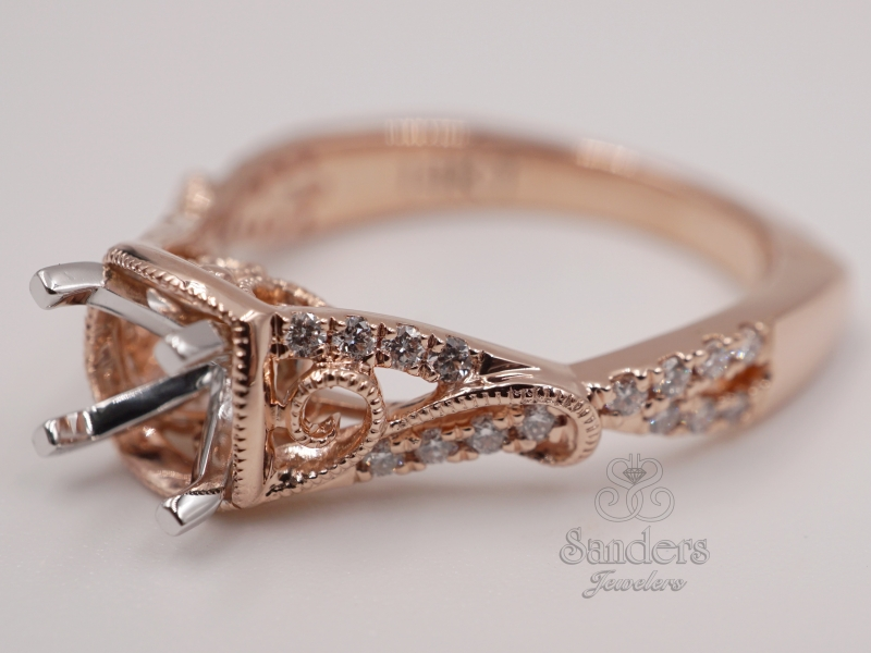Bridal Jewelry - Rose Gold Swirl Engagement Ring - image #2