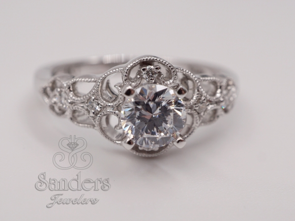 Bridal Jewelry - Filigree Lattice Diamond Engagement Ring