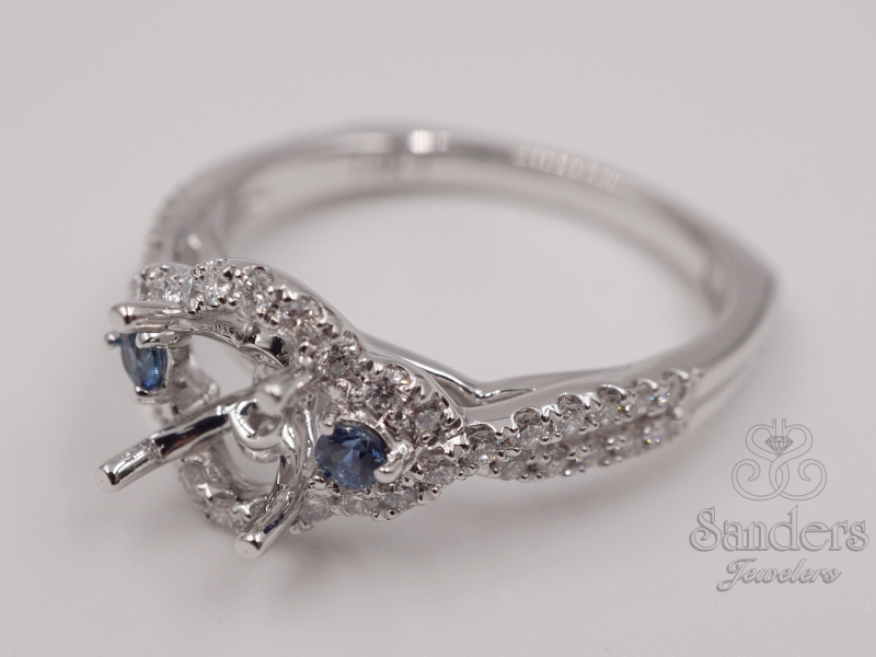 Bridal Jewelry - 3 Stone Diamond and Sapphire Halo Engagement Ring - image #2