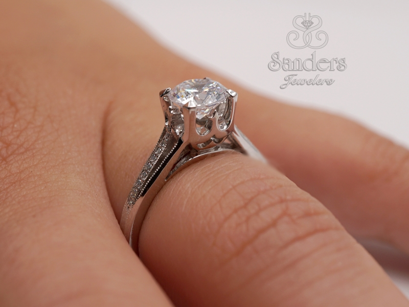 Bridal Jewelry - Split Shank Diamond Engagement Ring - image #4