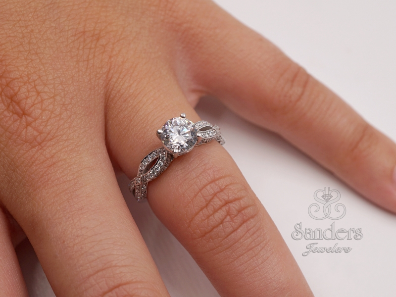 Bridal Jewelry - Twisting Diamond Engagement Ring - image #3
