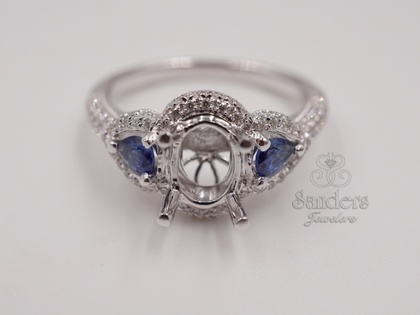 Bridal Jewelry - Sapphire Accented Engagement Ring