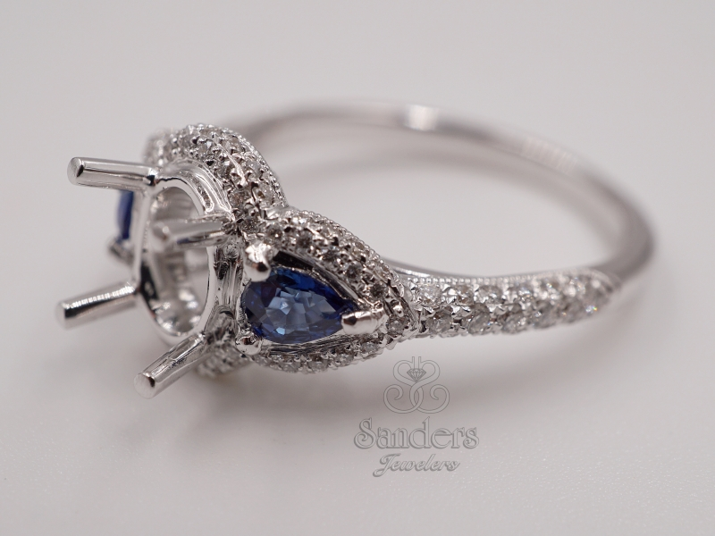 Bridal Jewelry - Sapphire Accented Engagement Ring - image #2