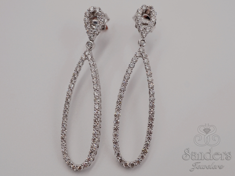Earrings - Dangle Diamond Earrings - image #2