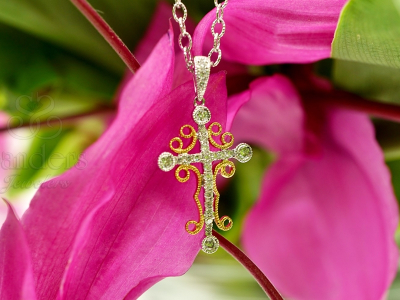 Pendants & Necklaces - Two-Tone Diamond Cross Pendant - image 2