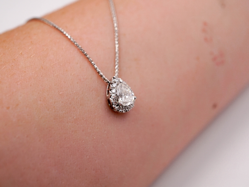 Diamond Pendants & Necklaces - Pear Shaped Diamond Pendant with Halo  - image #3